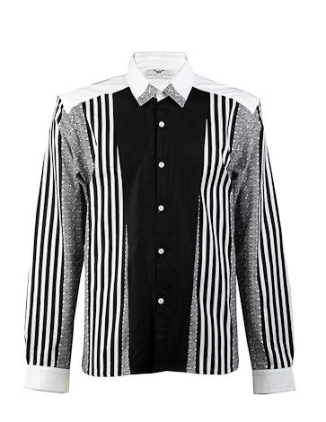 Emmanuel-Front panel black & white shirt - OHEMA OHENE AFRICAN INSPIRED FASHION  - 1