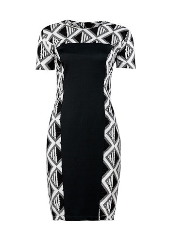 Achaa Black & White shift dress