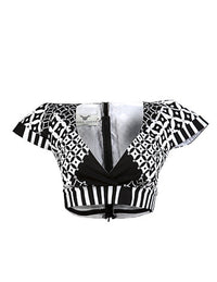 Black & White Georgina crop top - OHEMA OHENE AFRICAN INSPIRED FASHION  - 1