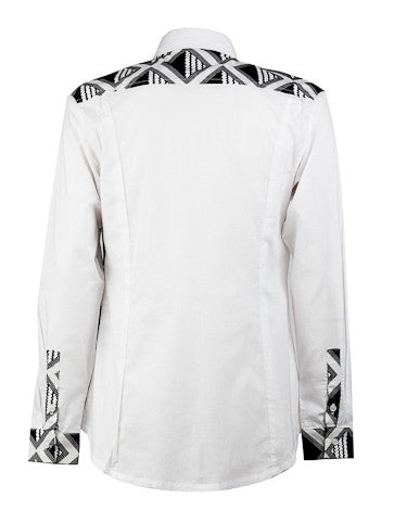 men's black and white shirt ohema ohene back view