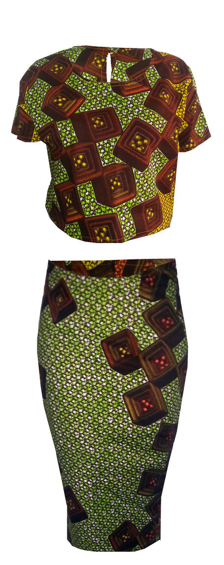 Two Piece African Print Crop Top & Midi Length Skirt -Texx - OHEMA OHENE AFRICAN INSPIRED FASHION  - 1