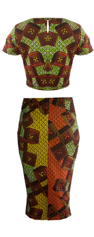 Two Piece African Print Crop Top & Midi Length Skirt -Texx