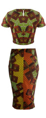 Two Piece African Print Crop Top & Midi Length Skirt -Texx - OHEMA OHENE AFRICAN INSPIRED FASHION  - 2