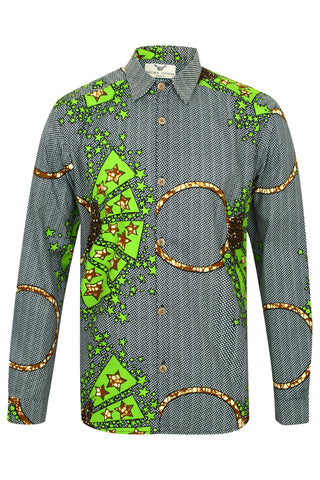 Men's Long sleeve African print shirt-Diamond