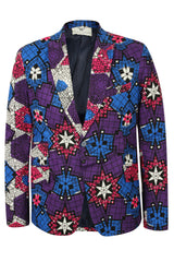 Mens 1 Button African Print Blazer-Femi 'Star'