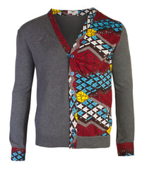 Tetris Front panel insert with shirt cuff detail cardigan - OHEMA OHENE AFRICAN INSPIRED FASHION  - 1