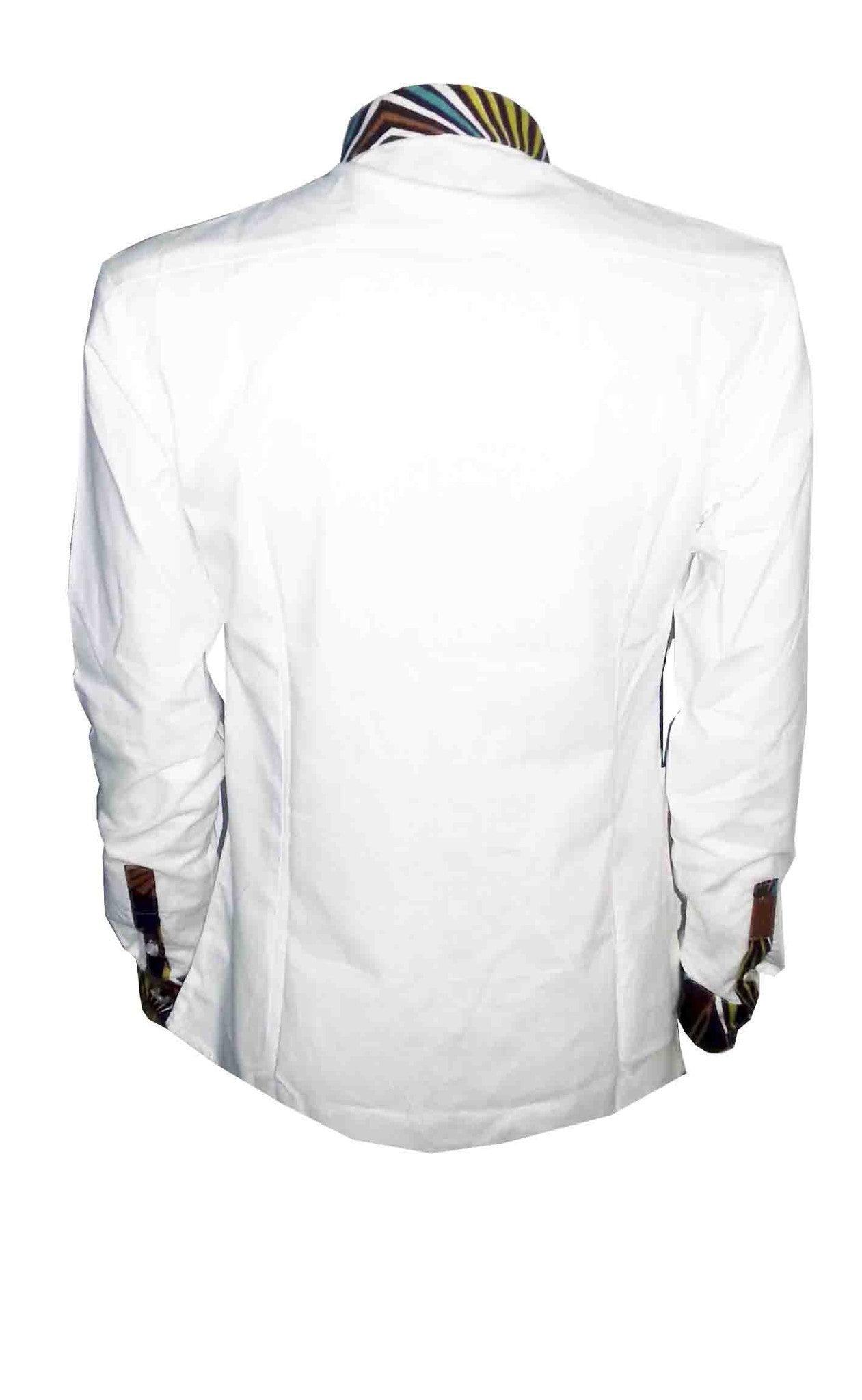 Men's African print shirt-White colour block - OHEMA OHENE AFRICAN INSPIRED FASHION  - 2