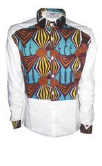 Men's African print shirt-White colour block - OHEMA OHENE AFRICAN INSPIRED FASHION  - 1