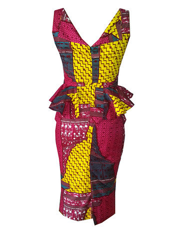 Harriet Peplum Waist African Print Dress - OHEMA OHENE AFRICAN INSPIRED FASHION  - 2