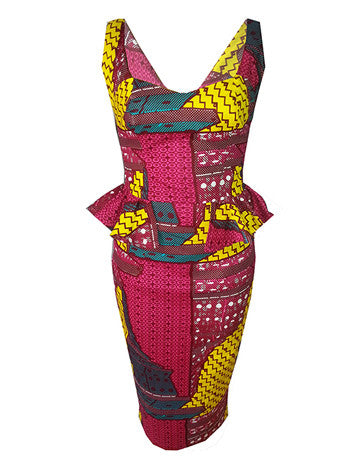Harriet Peplum Waist African Print Dress - OHEMA OHENE AFRICAN INSPIRED FASHION  - 1