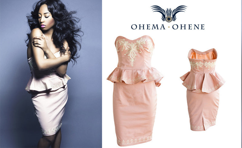 Jamelia- Peplum dress with embroidery - OHEMA OHENE AFRICAN INSPIRED FASHION  - 3