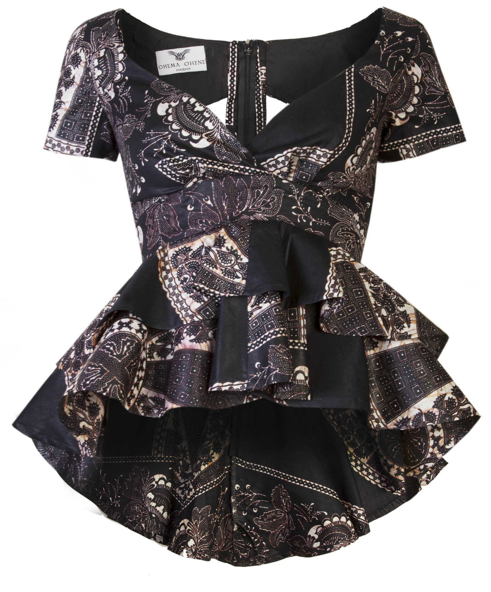 Joanna peplum top 'baroque' - OHEMA OHENE AFRICAN INSPIRED FASHION  - 1