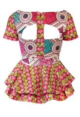 Joanna Peplum Pink African Print Top - OHEMA OHENE AFRICAN INSPIRED FASHION  - 2