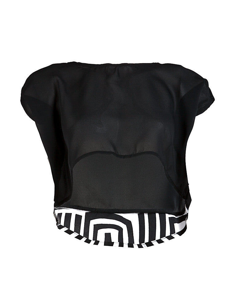 Black & White Joelle chiffon crop top - OHEMA OHENE AFRICAN INSPIRED FASHION  - 1