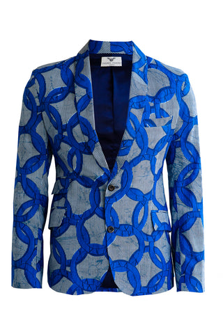 Blue Breeze Joshua Men's African print blazer