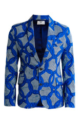 Blue Breeze Joshua Men's African print blazer - OHEMA OHENE AFRICAN INSPIRED FASHION  - 1