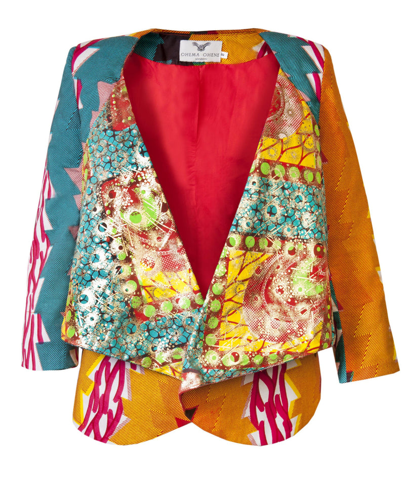 Katie-African print waterfall jacket-Stardust - OHEMA OHENE AFRICAN INSPIRED FASHION  - 1
