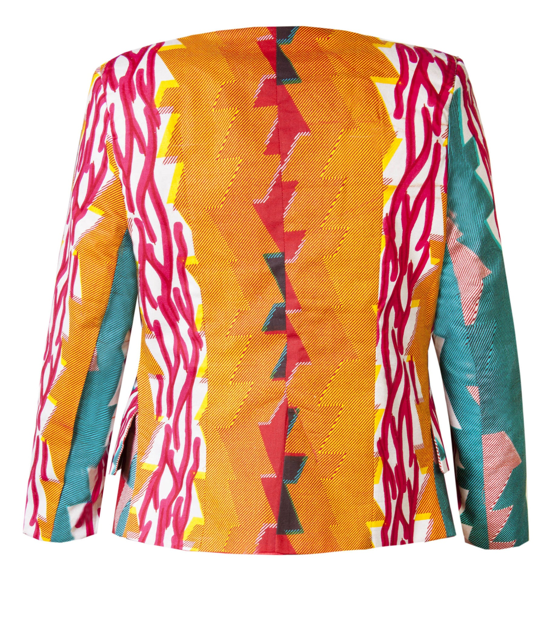 Katie-African print waterfall jacket-Stardust - OHEMA OHENE AFRICAN INSPIRED FASHION  - 2