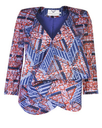 Ladies-African print waterfall jacket-Ladder - OHEMA OHENE AFRICAN INSPIRED FASHION  - 1