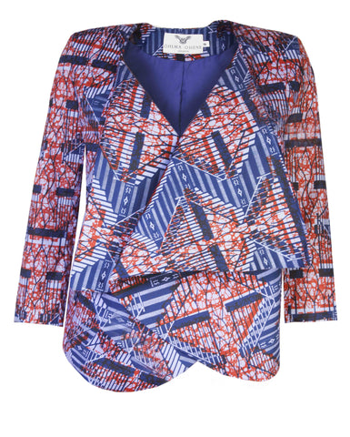 Ladies-African print waterfall jacket-Ladder