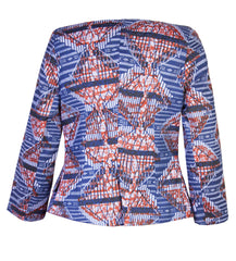 Ladies-African print waterfall jacket-Ladder - OHEMA OHENE AFRICAN INSPIRED FASHION  - 2