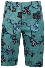 African print Mens Fitted shorts-Leaf