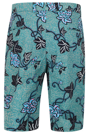 African print Men's Fitted shorts-Leaf