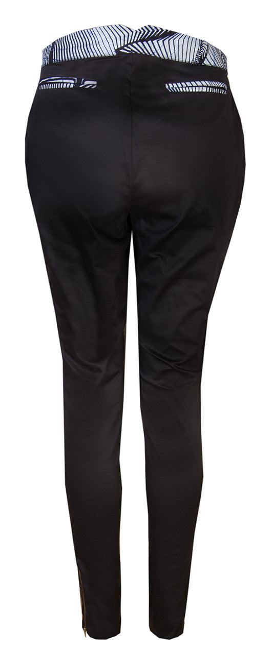 Ladies Black stretch trousers - OHEMA OHENE AFRICAN INSPIRED FASHION  - 2