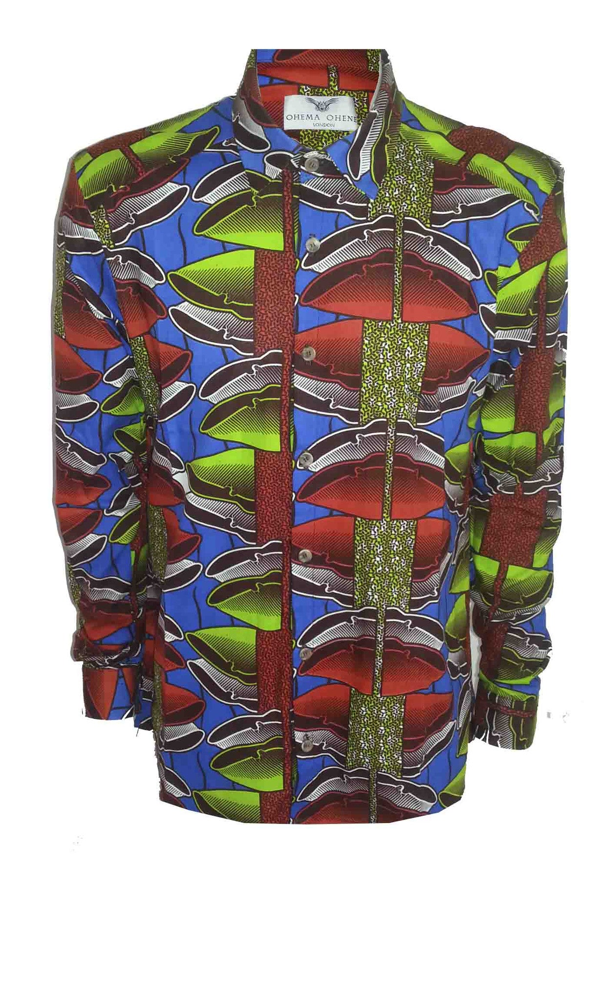 Men's Long sleeve African print shirt-Lime shells - OHEMA OHENE AFRICAN INSPIRED FASHION  - 1