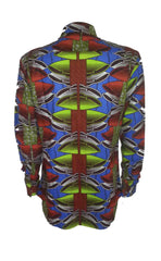 Men's Long sleeve African print shirt-Lime shells - OHEMA OHENE AFRICAN INSPIRED FASHION  - 2