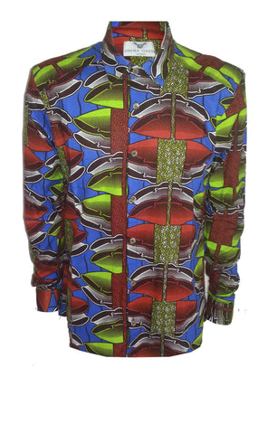 Men's Long sleeve African print shirt-Lime shells