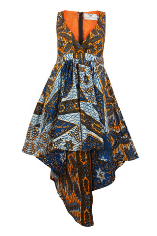 Louisa African print Maxi dress split level hem