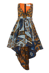Louisa African print Maxi dress split level hem - OHEMA OHENE AFRICAN INSPIRED FASHION  - 1