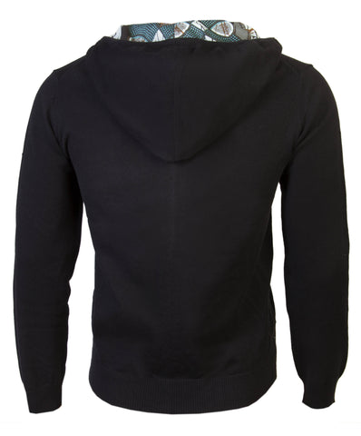 Black Men's hooded cardigan with African print detail