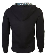 Black Men's hooded cardigan with African print detail - OHEMA OHENE AFRICAN INSPIRED FASHION  - 2