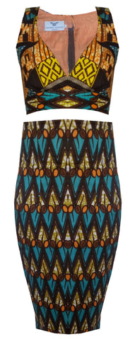 High Waist African Print Two Piece Crop Set-Azzey