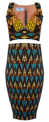 High Waist African Print Two Piece Crop Set-Azzey - OHEMA OHENE AFRICAN INSPIRED FASHION  - 1
