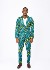 Green Men's African print blazer FT
