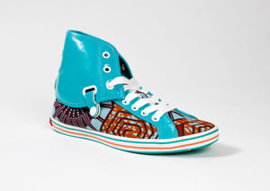 African Print Hi Top Trainers-Spider Web - OHEMA OHENE AFRICAN INSPIRED FASHION  - 1