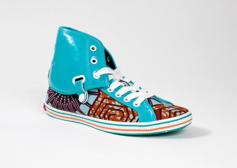 African Print Hi Top Trainers-Spider Web