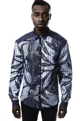 BLUE AFRICAN PRINT SHIRT FOR MEN BY OHEMA OHENE