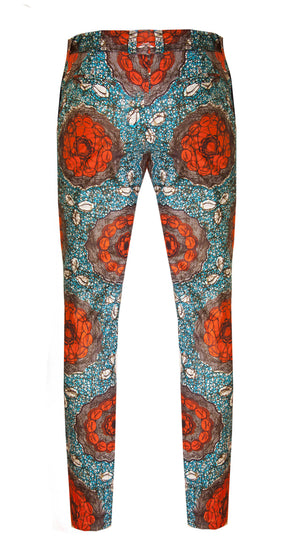 Shell print Men's skinny leg trousers - OHEMA OHENE AFRICAN INSPIRED FASHION  - 2