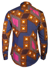 Men's African Print Pixels Bib Front Shirt - OHEMA OHENE AFRICAN INSPIRED FASHION  - 2