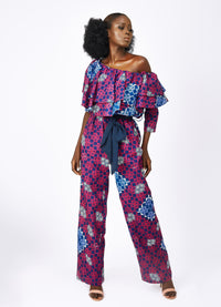 Sasha Wide Leg Frill Jumpsuit-Checkmate