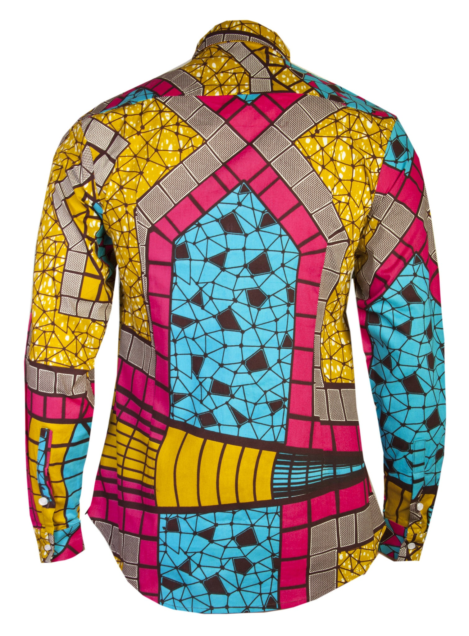 Men's printed shirt-Stain Glass tile - OHEMA OHENE AFRICAN INSPIRED FASHION  - 2