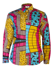 Men's printed shirt-Stain Glass tile - OHEMA OHENE AFRICAN INSPIRED FASHION  - 1