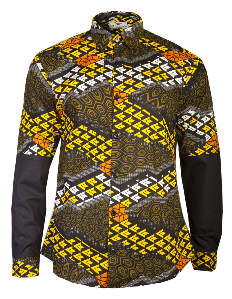 MEN'S BLACK & YELLOW AFRICAN PRINT SHIRT OHEMA OHENE