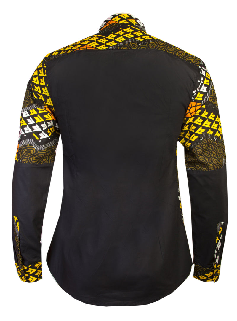 MEN'S AFRICAN PRINT SHIRT OHEMA OHENE BACK VIEW