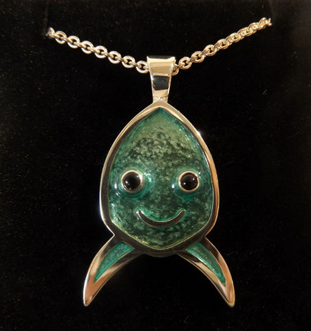 Silver & enamel pendant or brooch - Happy Fish