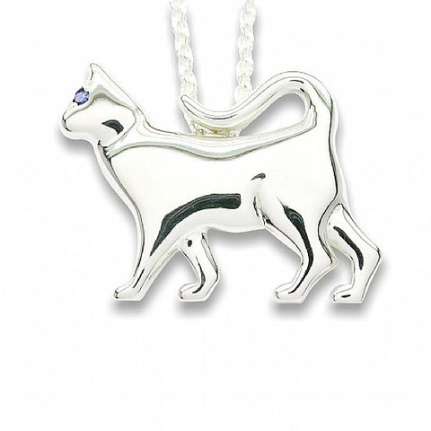 Silver pendant or brooch - Strolling Cat